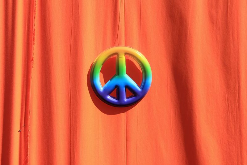 Peaceful Friday Peaceful Friedlich Frieden Peace ✌ Peace Multi Colored No People Close-up Blue Indoors  Circle Geometric Shape Shape Red Communication Hanging Wood - Material Day Wall - Building Feature Still Life Design Creativity Curtain Orange Color Pattern My Best Travel Photo A New Beginning My Best Photo