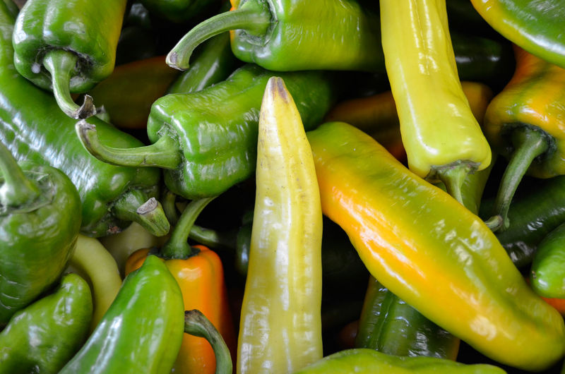 Full frame shot of chili peppers for sale in market