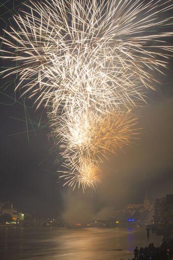 Basel Fireworks, Switzerland Basel Basel, Switzerland Bridge Celebration Dreiländereck Exploding Firework Firework Display Illuminated Long Exposure Mittlere Brücke, Basel, Switzerland Night Panorama Rhine Rhine River River Sky Switzerland Water