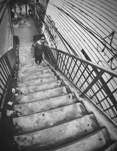 Oldwoman Real People Walking Built Structure Architecture People Asian  Life Overpass Walkingup Thaiwoman Grandma Sunglass  Slow Life Blackandwhite