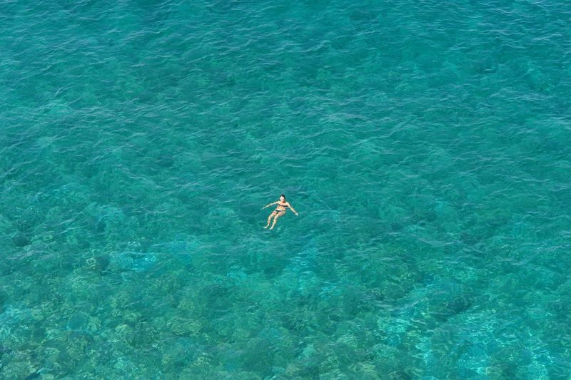 Alone Day From Where I Stand Having Fun High Angle View Nature One Person Outdoors Real People Sea Swimming Tourism Tranquility Turquoise Vacations Water Live For The Story