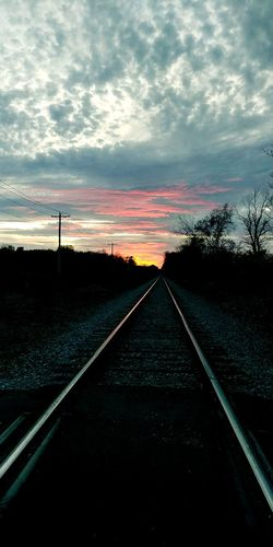 Railroad Track Sunset No People Sky Cloud - Sky Beauty In Nature Tranquility Transportation Rail Transportation Dramatic Sky Longroad Thelongroad
