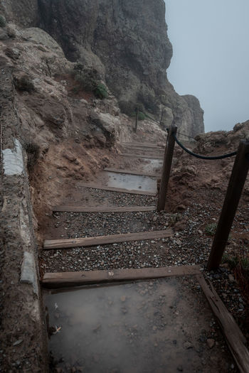 Low angle view of steps leading towards mountain