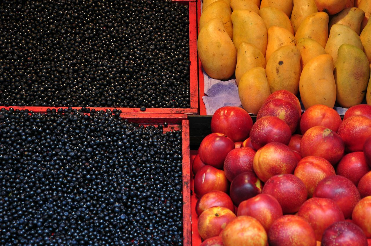 High Angle View Of Fruits For Sale At Market