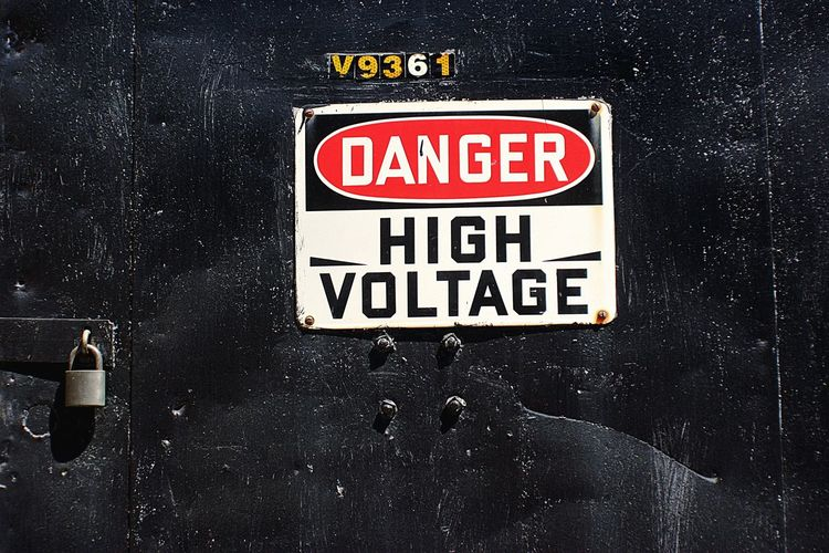 Danger Danger Sign High Voltage Sign Vintage Sign Back Door Padlock Outdoors High Voltage Warning Sign