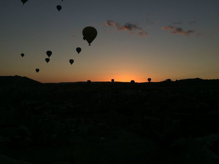 Sky Silhouette Sunset Balloon Nature Hot Air Balloon Mid-air