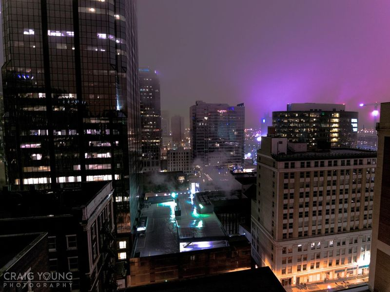 Architecture Illuminated Night Cityscape Skyscraper City Building Exterior Built Structure Modern City Life Outdoors No People Travel Destinations Sky Urban Skyline Streetphotography Kansas City Missouri Kcmo City Life Scenics Breathing Space Cityscape Rooftop Fog