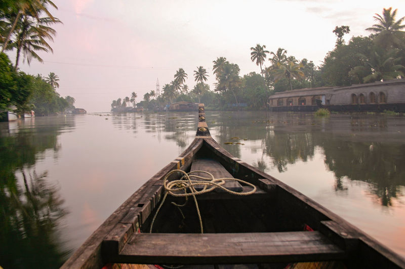 Boat On Kerala Backwaters Against Sky