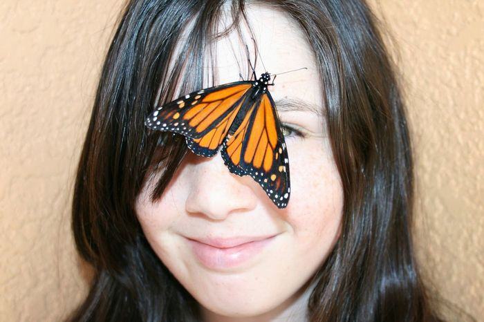 Hanging Out Butterfly Girl Tween Smile Its Real  EyeEm Nature Lover Florida Monarch Butterfly Walking
