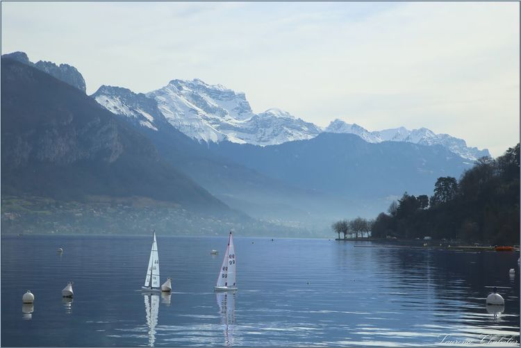 The lake and the moutain·'´°✿ Beauty In Nature Day Lake Mountain Mountain Range Nature Nautical Vessel No People Outdoors Pedal Boat Sailboat Scenics Sky Water Waterfront Yachting