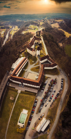Seggau palace castle and hotel. aerial view from far above travel destination near leibnitz