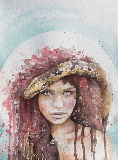 •I Dare You• Artbycruzpdx Portland, OR Originalpainting Handmade Watercolor Female Female Likeness Religion One Person Human Body Part Close-up Only Women Day Outdoors Fine Art