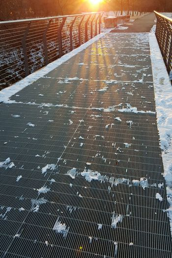 Sunlight Sunset Backgrounds Day Beauty In Nature Converging Lines Steel Cable Steel Structure  Bridge - Man Made Structure Winter Snow Perspective Cold Temperature Park Walkway Bright Future Dusk Personal Perspective Kentucky