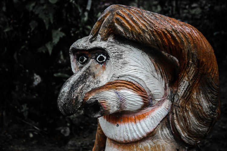Close-up of animal sculpture