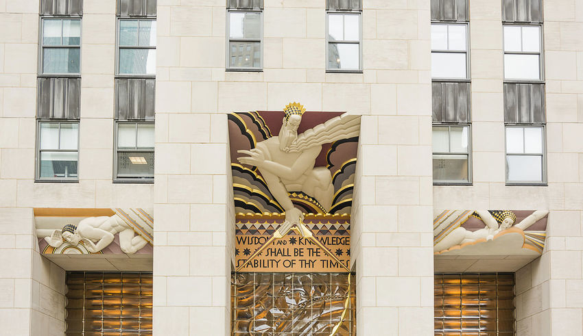 Wisdom, an art deco piece by Lee Lawrie over the entrance of 30 Rockefeller plaza in New York, NY Architecture Architecture Art Deco Building Exterior Built Structure City Day Ge Building Gold Colored No People Outdoors Rockefeller Plaza Rockfeller Center Sculpture Wisdom Neighborhood Map