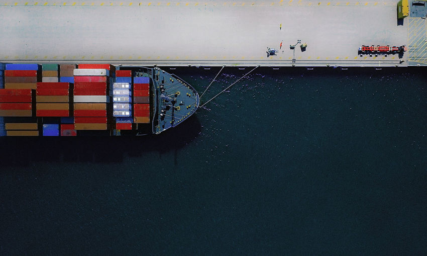 Tied load Aerial View Cat Container Ship Dockside Harbour Nautical Vessel No People Portrait Ship Transportation Waterfront Fresh On Market 2017