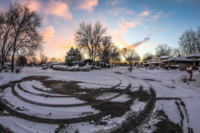 Cold Cold Temperature Frozen HDR High Definition Landscape Outdoors Road Sky Snow Snow Covered Snow Tracks Sunset Tranquil Scene Wide Angle Winter