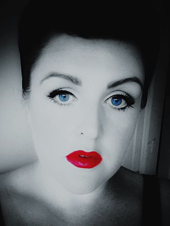 Black And White Portrait 1940's Self Portrait Color Splash Blue Eyes Red Lips Black And White Photography That's Me Black & White