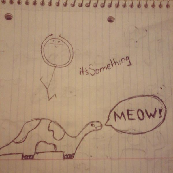 """""""Are dinosaurs the only thing you know now to draw?"""" Itssomething Dinosaur Meow Stickfigure drawing art ink"""