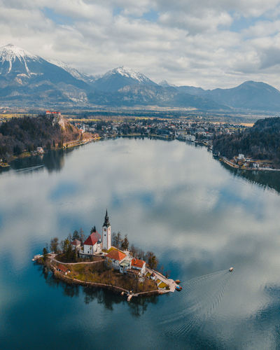 Nature No People Bled Bled Lake Slovenia Slovenia Drone  Dronephotography Drone Photography Droneshot Drones Birdview Lake View Island Life Island View  Church Architecture Springtime Decadence