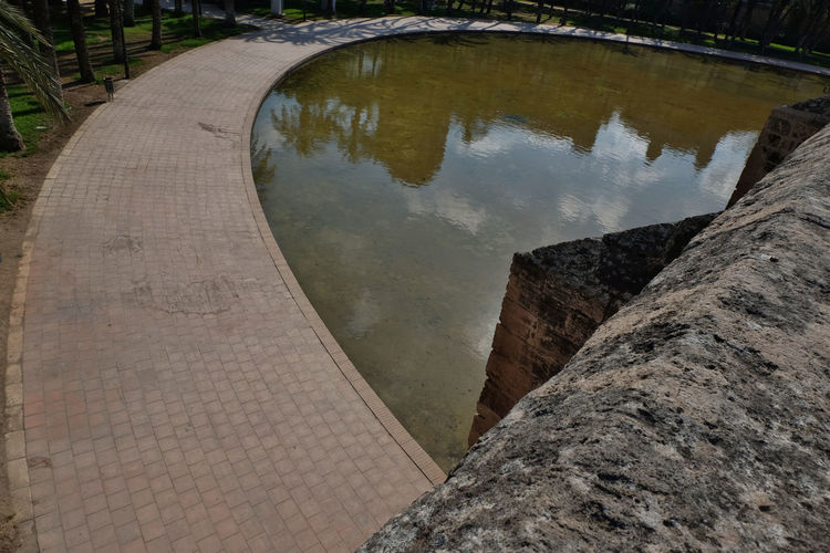 High angle view of reflection in water
