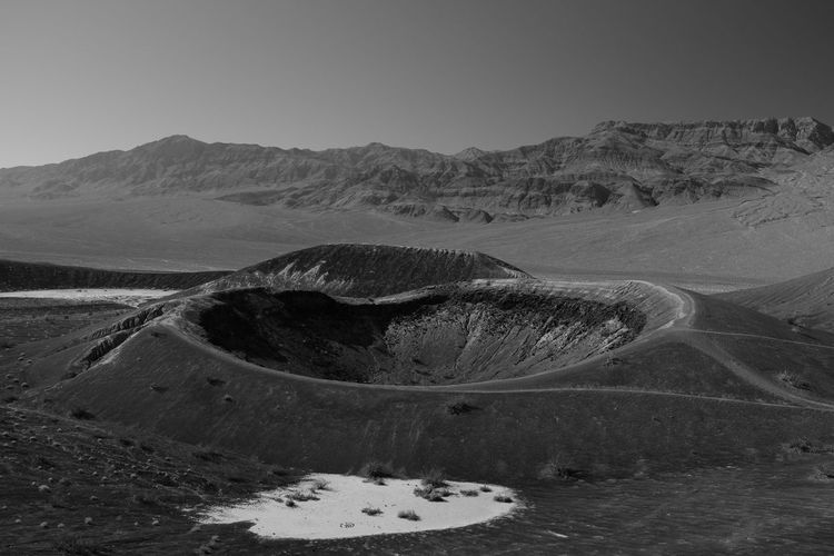 Environment Scenics - Nature Tranquil Scene No People Tranquility Beauty In Nature Land Non-urban Scene Outdoors Clear Sky Desert Desert Beauty Crater Volcano Volcanic Landscape Space Space Exploration Lunar Lunar Landscape Blackandwhite Black And White
