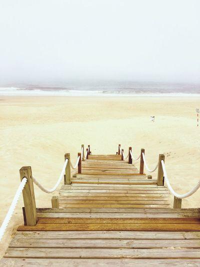 Steps On Beach Against Clear Sky