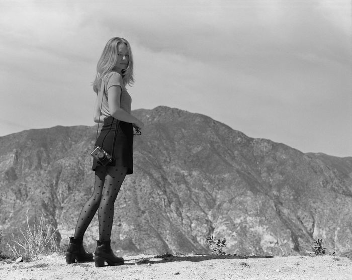 35mm Beautiful Woman Beauty In Nature Bw Casual Clothing Day Film Photography Full Length Hiking Hipster Lifestyles Mountain Nature One Person Outdoors People Polka Real People Sightseeing Sky Standing Stockings Sunglasses Young Adult Young Women