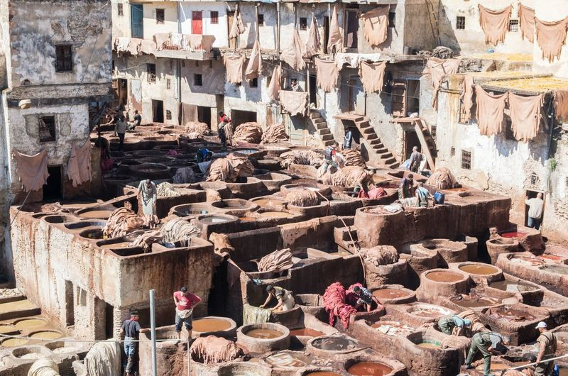 Africa Built Structure Leather Leather Tannery Messy Old People Working Tannery Travel Destinations