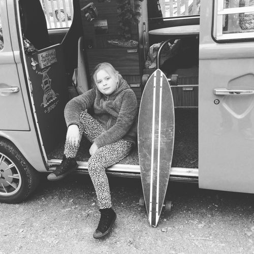 My little G chilling in the bus Longboard Skateboard Campervan Blackandwhite Photography