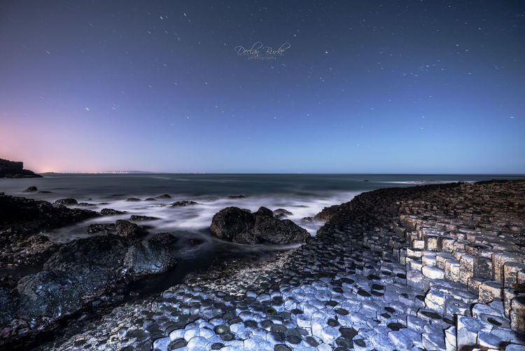 Giants causeway by moonlight in County Antrim in northern Ireland.