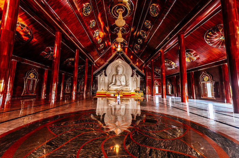 white Buddha statue in red wood temple in Thailand Architectural Column Bridge - Man Made Structure Red Architecture Built Structure Place Of Worship Spirituality Temple Religion Temple - Building Church Buddhist Temple
