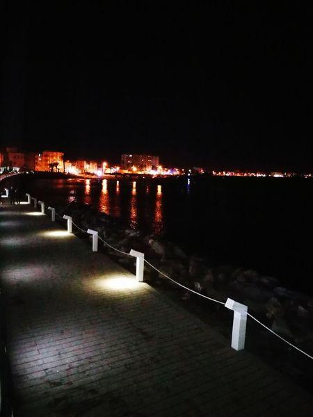 Mahdia/Tunisia Port Night Illuminated Outdoors Water No People Sky City
