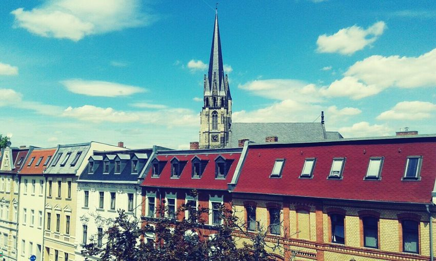 Taking Photos Beautiful Day View From The Window... Colorful Katedral Bernburg City
