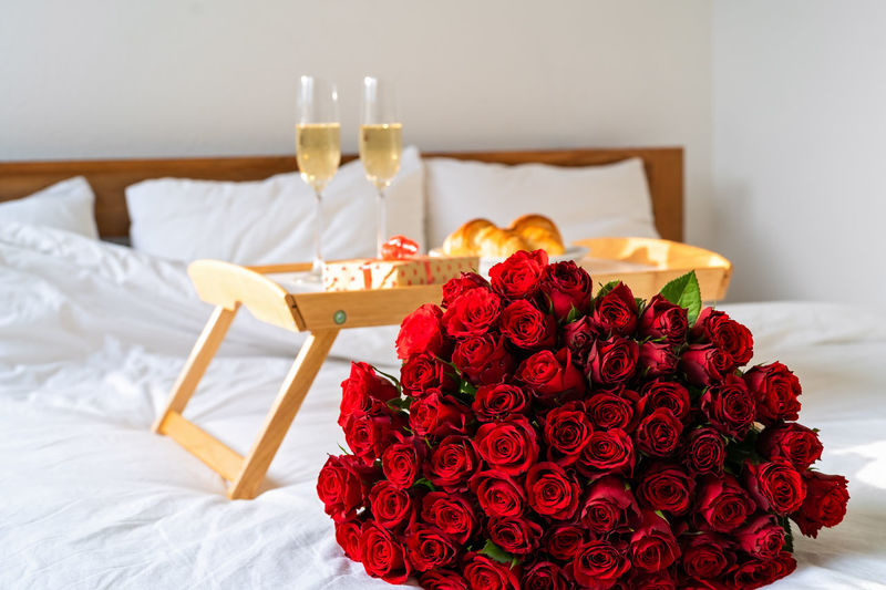 Red rose on table