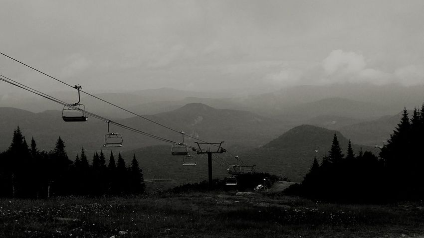 Mountain Mountains Mountain Range Viewpoint Hiking Hikingadventures Mont Tremblant, Qc Black And White Monochrome Monochromatic Chairlift Landscape Monochrome Photography