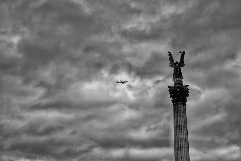 Hungary Photos Clouds And Sky Cloudpark Airplane Angel Statue Now And Past Bnw Bnw_captures Blackandwhite Black And White A Point Of View Architecture Walking Around Streamzoofamily The Street Photographer - 2017 EyeEm Awards The Great Outdoors - 2017 EyeEm Awards The Architect - 2017 EyeEm Awards