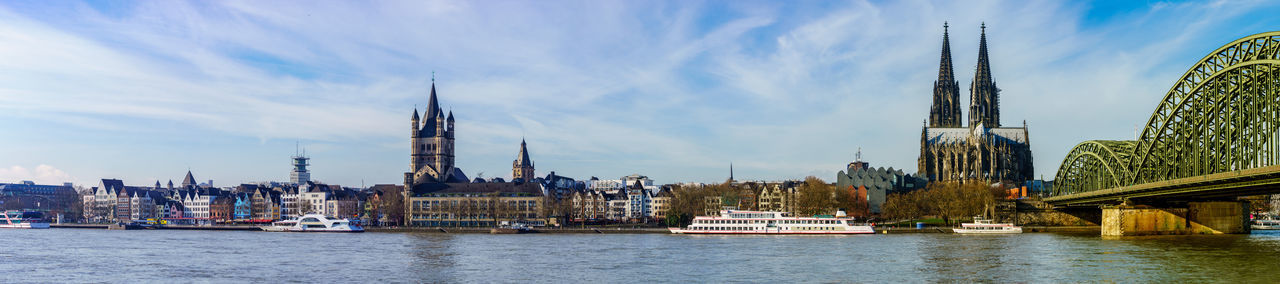 Panorama of Cologne with Great St. Martin Church, Cologne Cathedral, Hohenzollern Bridge and the Rhine river, Germany Church Cityscape Cologne Cologne , Köln,  Panorama Reihn River Rhine Skyline Cologne Cathedral Germany Hohenzollern  Hohenzollernbrücke Summer