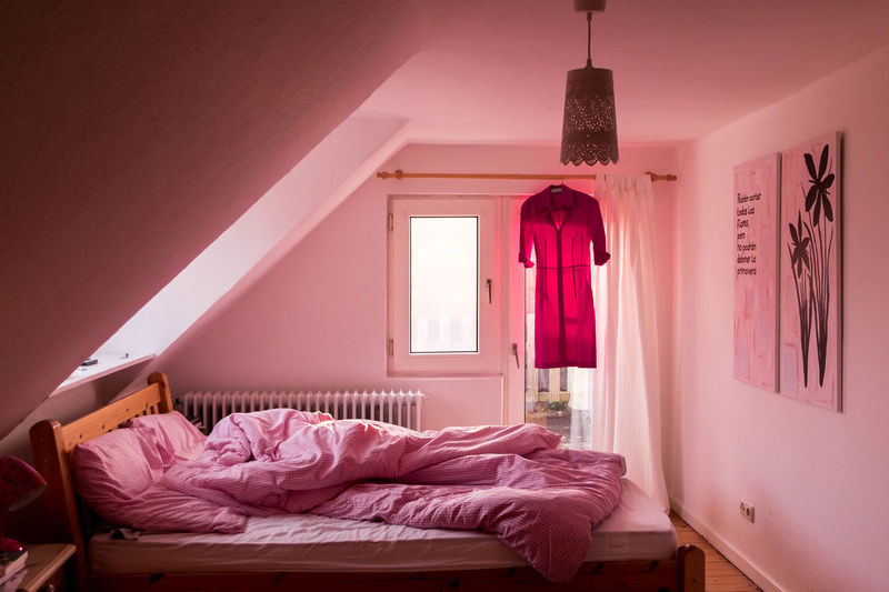 Bedroom Curtain Day Dress Indoors  Morning No People Pink Pink Color Vacations Window Millennial Pink