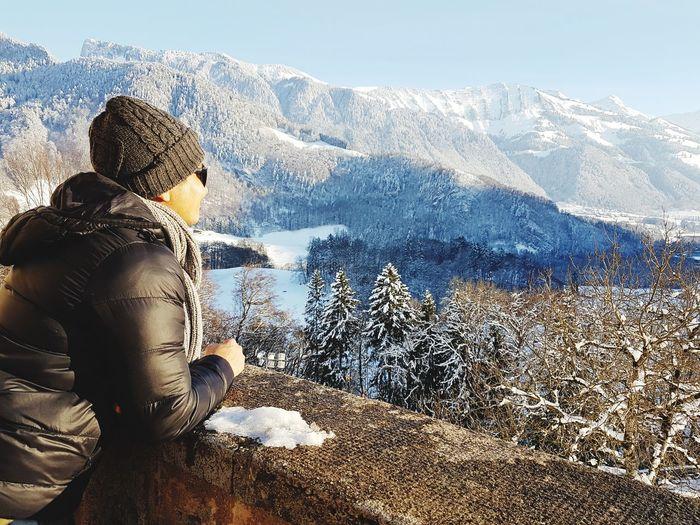 Contemplating Thinking Wandering Winter Broc Switzerland Alps Water Mountain Snow Adventure Winter Child Cold Temperature Men Challenge Spraying