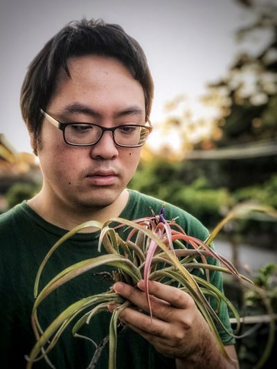 Portrait of young man holding flowering air plant against sky and trees.