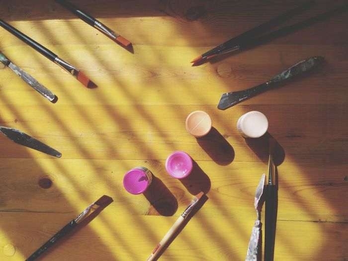 Still Life Art Tools Art Palette Directly Above Flat Lay Multi Colored Creativity Yellow Backgrounds Wooden Background Artist Tools Painting Tools Paint Colors  Paintbrush Pink Color Pink Shades Mix Yourself A Good Time