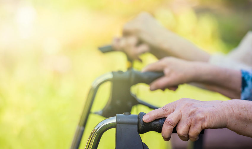 Close-up of person riding bicycle