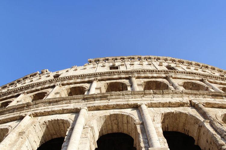 The exterior facade of the colosseum or coliseum