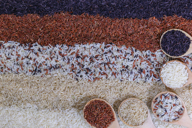 High angle view of dry beans in market stall