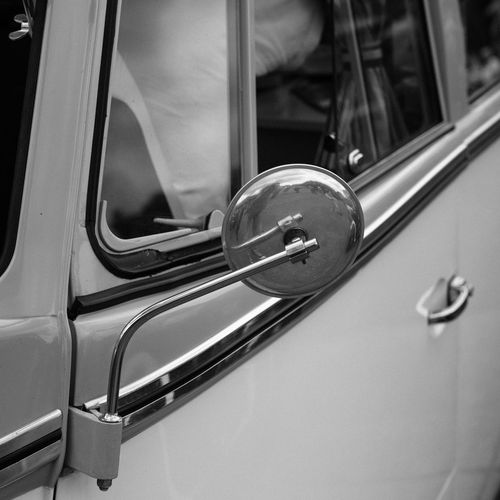 Close-Up Of Vintage Car With Side-View Mirror