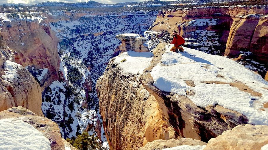 Getting the shot (almost got blown off) Rock - Object Nature Colorado Cold Temperature Snow Outdoors Travel Windy Canyon