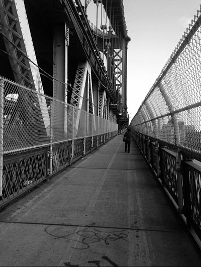 Manhattan Bridge Walkway From Manhattan To Brooklyn Enjoying My City Taking Photos Manhattan Bridge Iphone6plus Black And White Photography