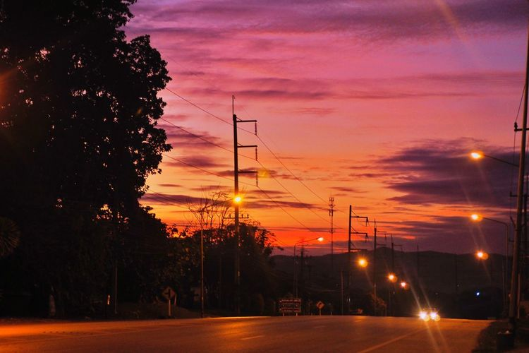 View of street at sunset