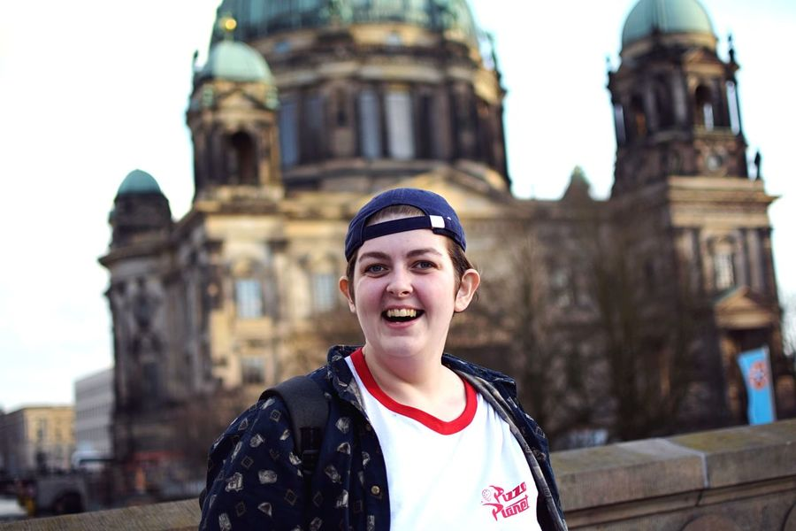 The Tourist. Friends Best Friends Berlin View Berliner Ansichten EyeEm Selects Architecture Portrait Built Structure Building Exterior Travel Destinations One Person Smiling City Tourism Young Adult Happiness Looking At Camera Emotion Young Women Travel Focus On Foreground Outdoors The Portraitist - 2018 EyeEm Awards